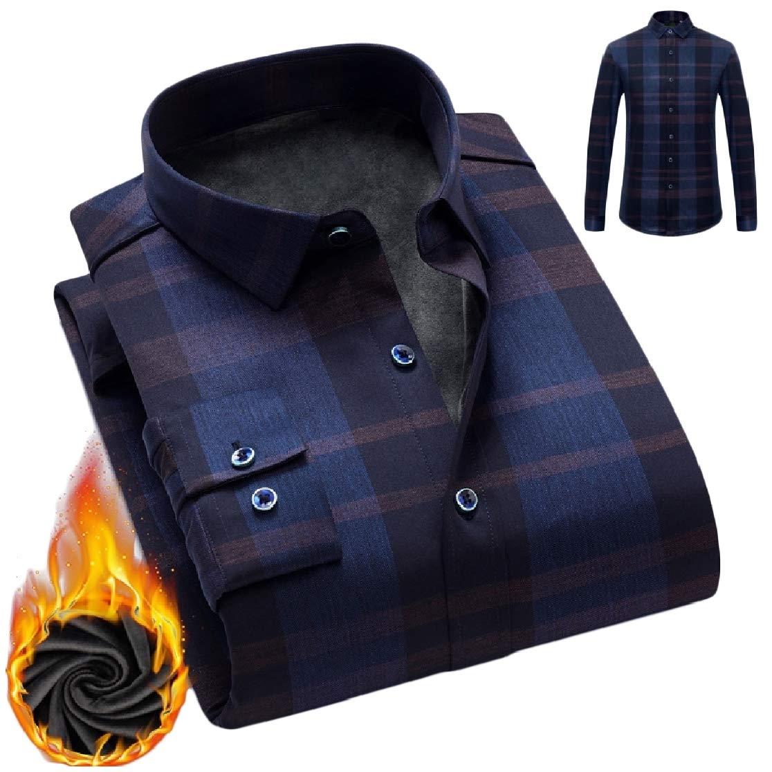 Comaba Men Square Collar Thick Fall /& Winter Long Sleeve Plus Velvet Work Shirt
