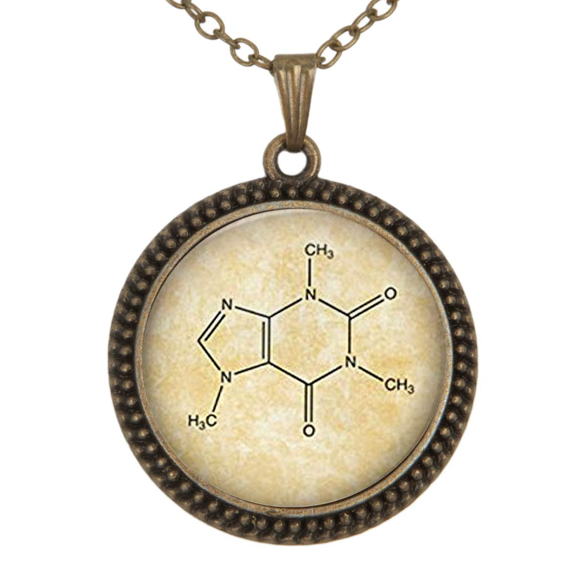Lightrain Chemical Formula Pendant Necklace Vintage Bronze Chain Statement Necklace Handmade Jewelry Gifts
