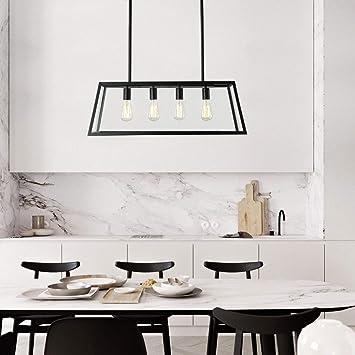 L Iluminación Colgante de la Isla de la Cocina, lámpara de araña Industrial Moderna Marco Negro Mate con Paneles de Vidrio Transparente Luces de Techo, luz de Mesa de Billar: Amazon.es: Hogar