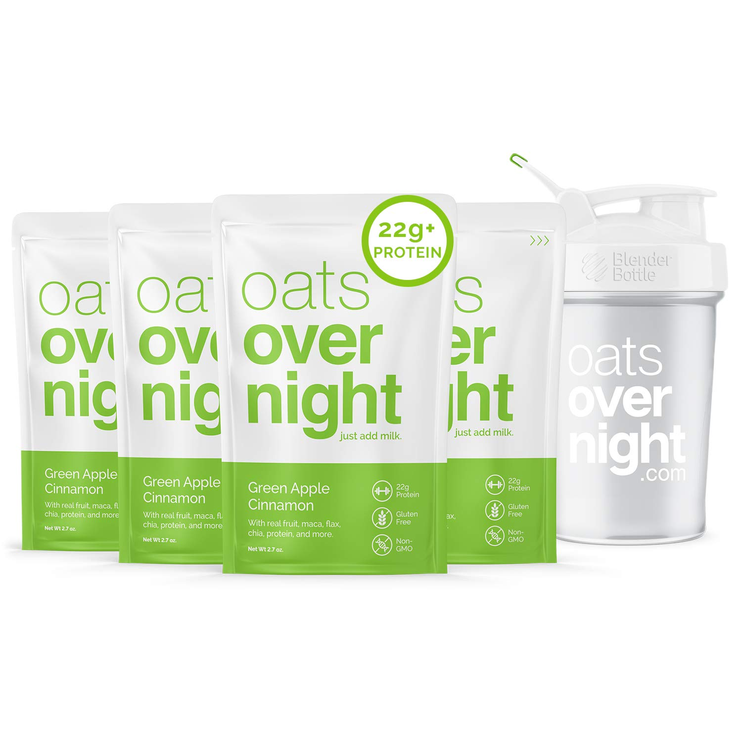 Oats Overnight - Green Apple Cinnamon (8 Pack PLUS BlenderBottle) High Protein, Low Sugar Breakfast - Gluten Free, High Fiber, Non GMO Oatmeal (2.7oz per pack)