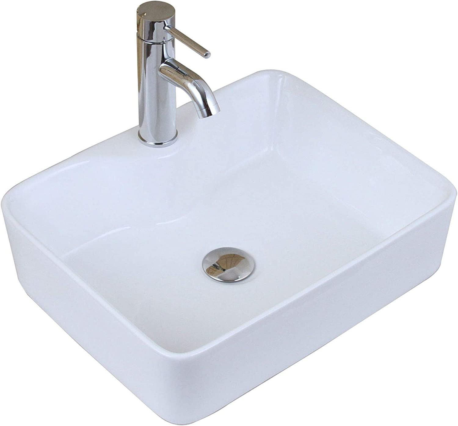ELITE Bathroom Rectangle White Porcelain Ceramic Vessel Sink Short Chrome Faucet Combo