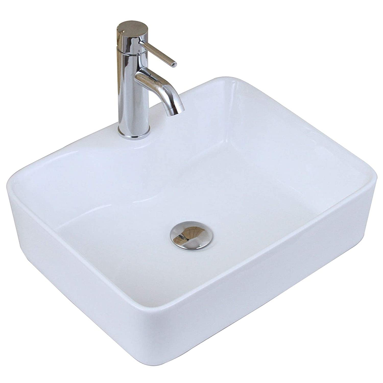 ELITE Bathroom Rectangle White Porcelain Ceramic Vessel Sink Short Chrome Faucet Combo