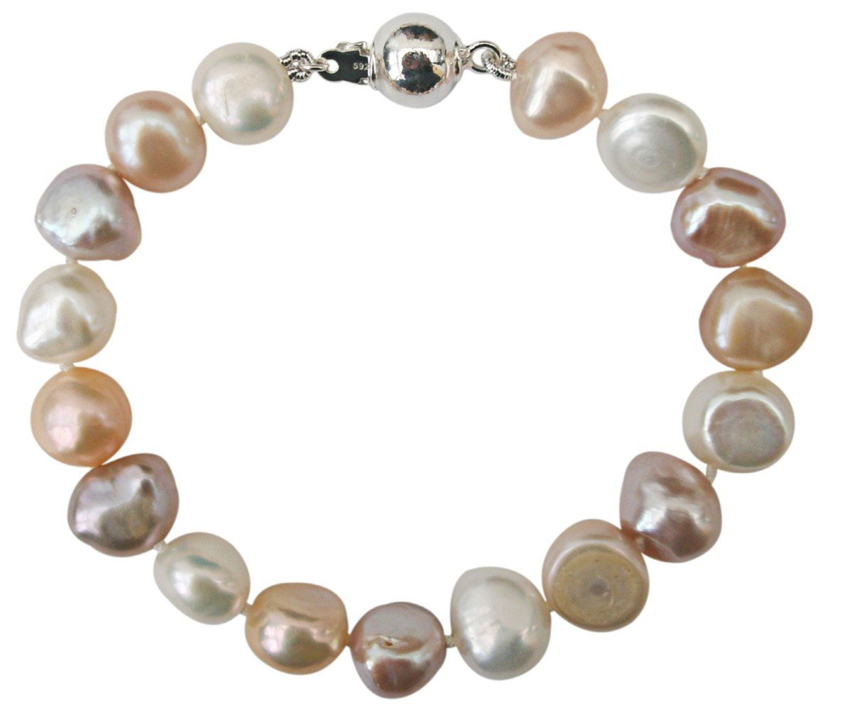 Bridesmaid Soft Peach/Lilac/White 9-10mm Baroque Cultured Pearl Bracelet With A Pretty Sterling Silver Ball Clasp, 15Cm