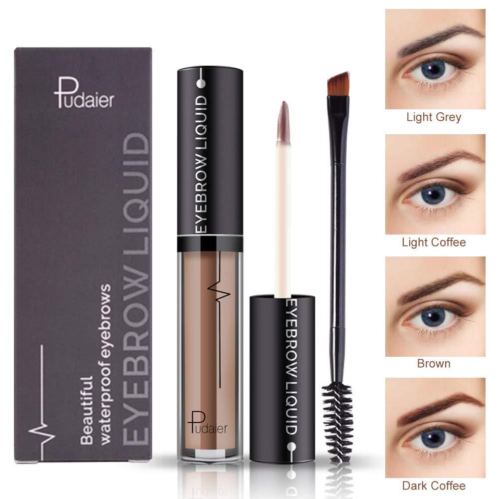 Waterproof Liquid Eyebrow Gels-24Hours Long Lasting Smudge-Proof Tinted Makeup Brow Color Gel-Light Coffee