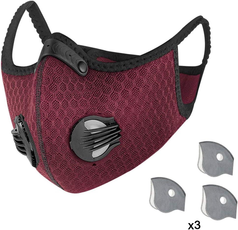 DRAKE18 Protección Facial de 5 Capas Válvula Doble Transpirable Carbón Activado contra la contaminación Polvo Niebla Polen Herramienta de protección para Exteriores Reutilizable y Lavable
