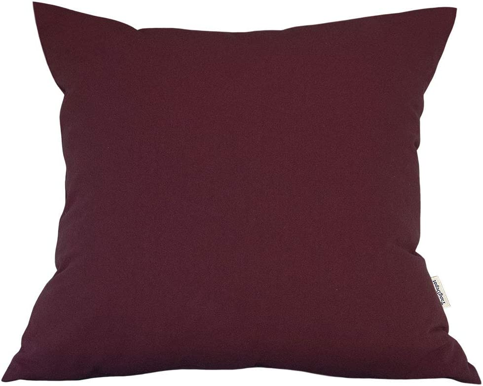 TangDepot Decorative Handmade Solid Cotton Throw Pillow Covers, Super Soft Pillow Shams, Indoor/Outdoor Square Cushion Cover - (18