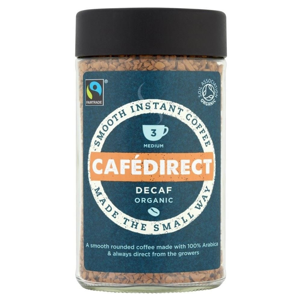 Cafédirect Fairtrade Organic Decaffeinated Instant Coffee (100g) - Pack of 6