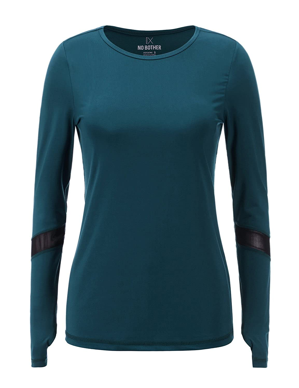 5e2f97e3ef9 Amazon.com  Regna X NOBOTHER Women s Long Sleeve Stretchy Mesh Thumb Holes  Active Top (S-3X
