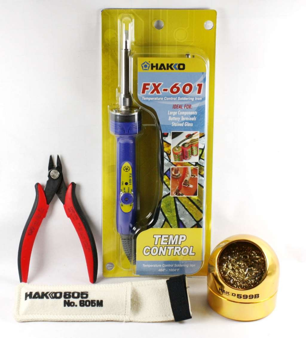 Hakko FX601-02 Adjustable Soldering Iron with 605M Hot Sock, CHP170 Cutter and 599B