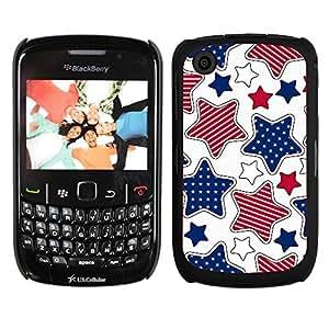 Print Motif Coque de protection Case Cover // V00002515 patrón de rayas y estrellas // Blackberry 8520 9300