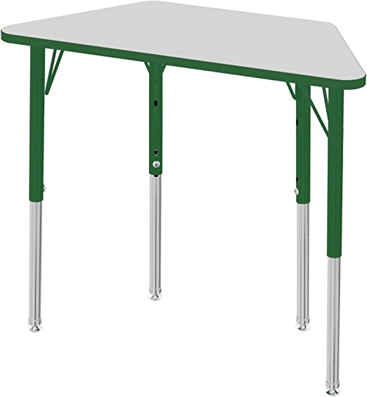 Adjustable Height 15-23 inch Toddler Legs w// Ball Glides Grey//Black ECR4Kids Mesa Thermo-fused 24 x 48 Trapezoid School Activity Table