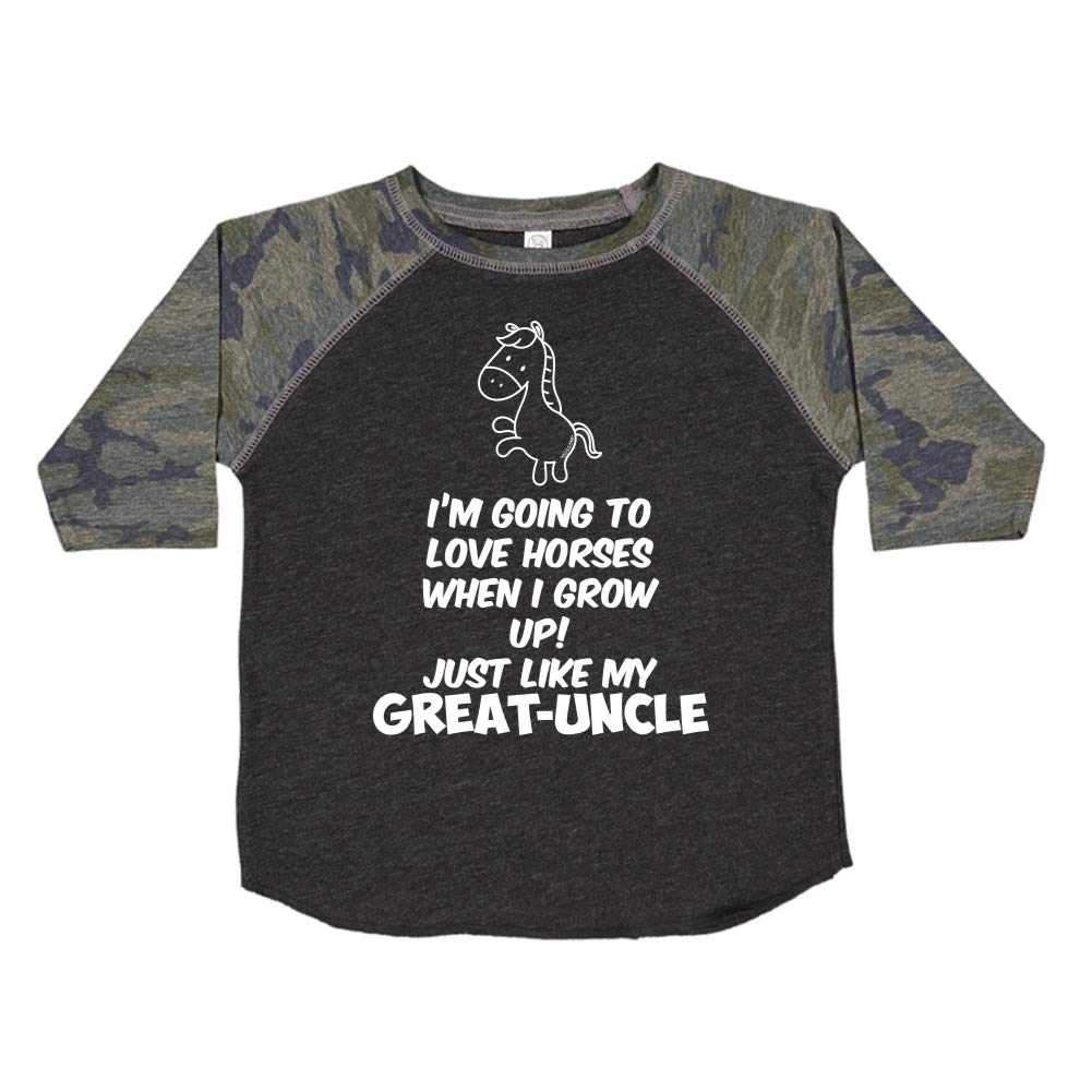Toddler//Kids Raglan T-Shirt Just Like My Great-Uncle Im Going to Love Horses When I Grow Up