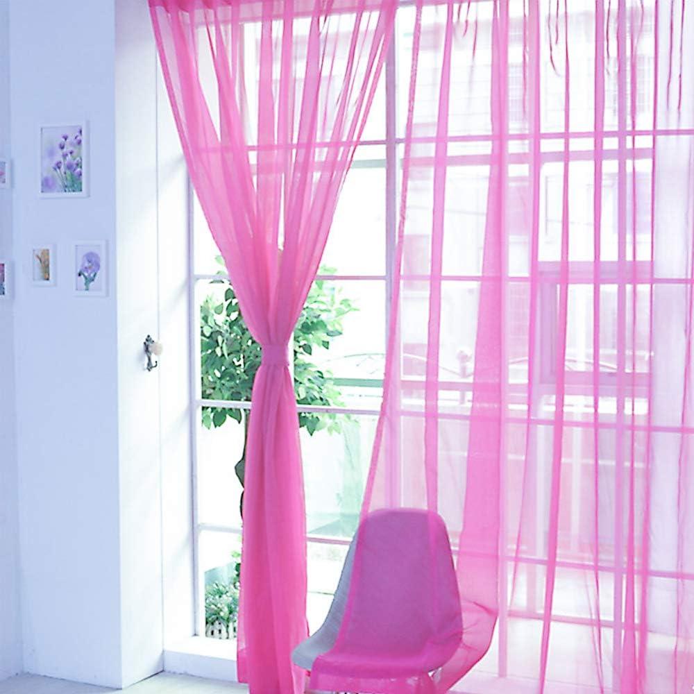RainBabee Rideau Transparent Couleur Unie de Fen/être Rideau de Voilage Deco pour Fen/être Chambre//Salon//Balcon 200cmx100cm//1PC