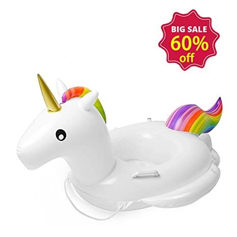 46673699a188 GOGOGOFUN Unicorn Baby Float, Inflatable Baby Seat Boat Pool Ring Baby  Swimming Float.Big Size