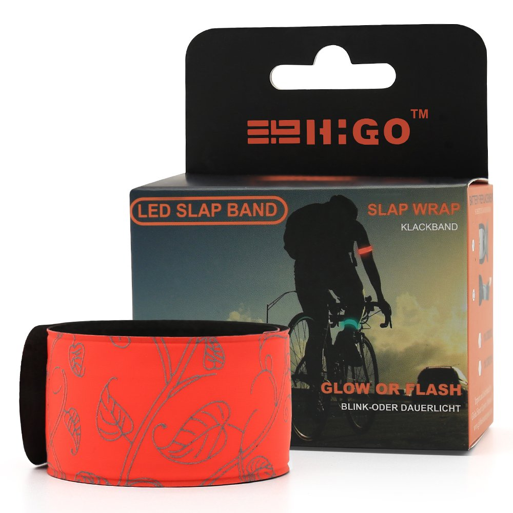 2ed Generation Patented Heat Sealed Glow in The Dark Sweat Resistant Reflective Led Slap Bracelet for Running Jogging Higo LED Armband Cycling