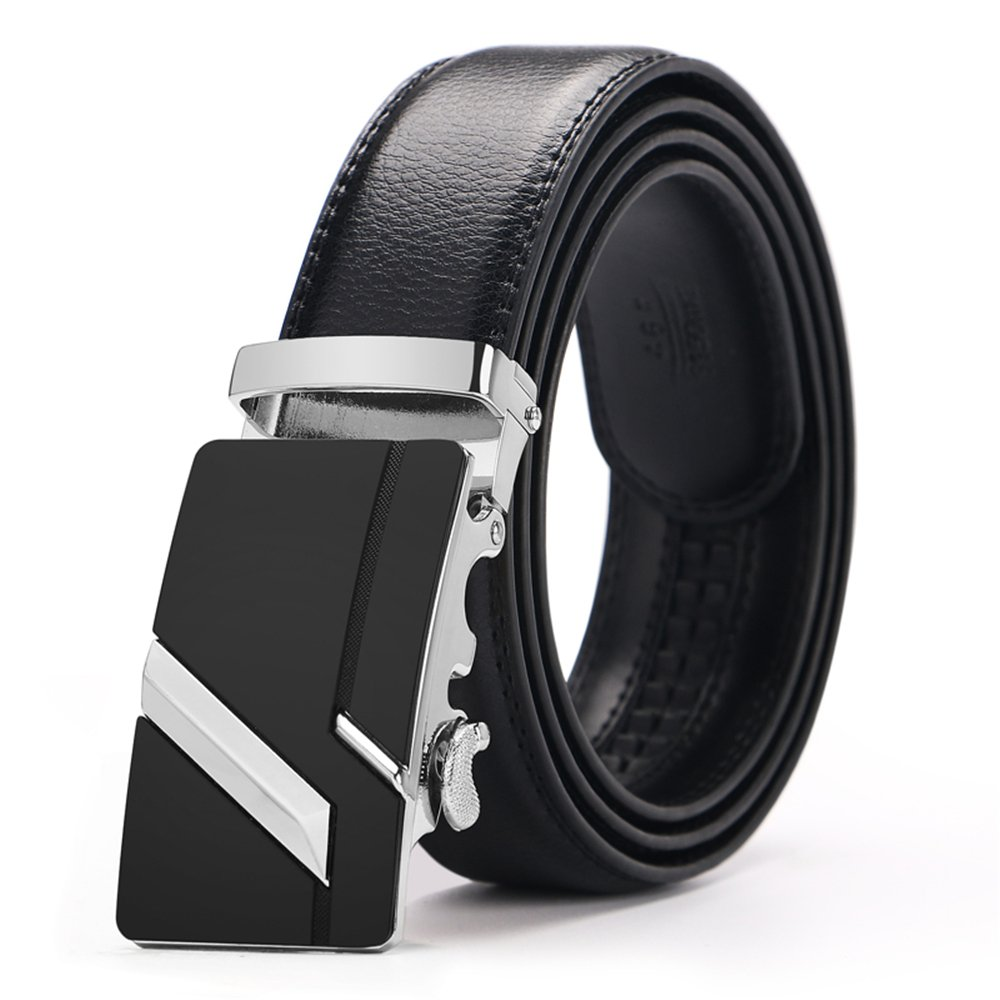 Iztor Men's Belts Leather Ratchet Dress Belt with Automatic Buckle 1 3/8 Wider for from 20 to 43 Waist BT1451