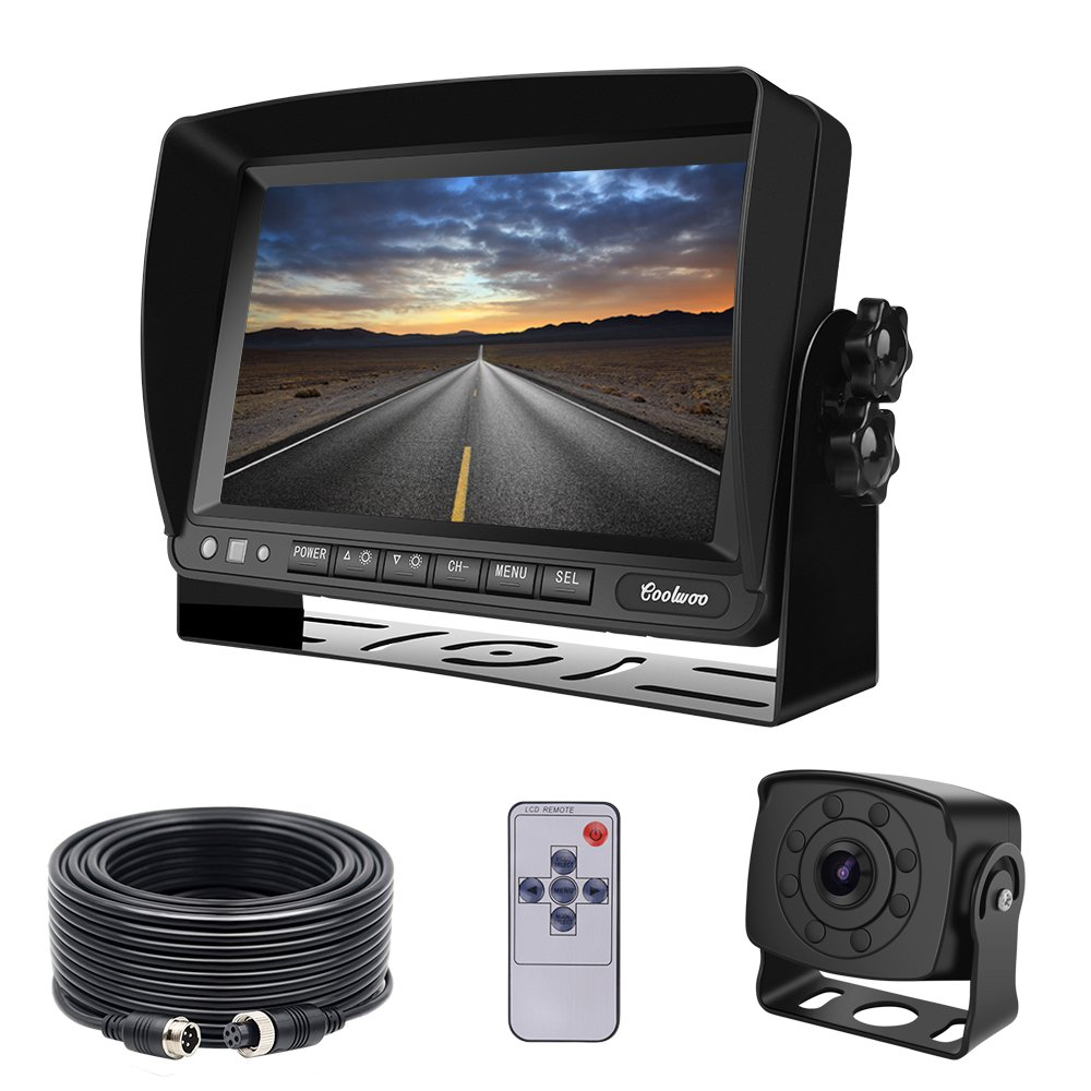 Backup Camera and Monitor Kit for Van, RV, Upgraded 175º Wide View Wired Infrared HD Small Rear View Cam with 7 inch Adjustable Monitor for Truck, Trailer, Bus, Oversize Vehicles