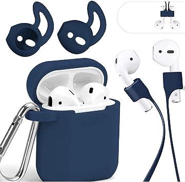 Mauri - Funda para AirPods de silicona compatible con auriculares Apple Earpods 2 y 1, con soporte de carga inalámbrica y mosquetón, color azul: Amazon.es: Electrónica