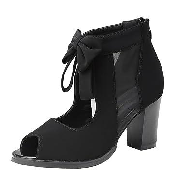 ec208fe3577a getmorebeauty Womens Black Peep Toe Cut Out Bows Vintage Chunky Heel Ankle  Boots 5 B(