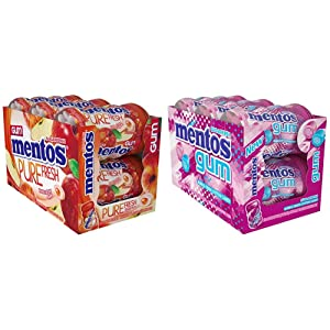 Mentos Sugar-Free Chewing Gum, Red Fruit Lime, 50 Piece Bottle (Bulk Pack of 6) & Sugar-Free Chewing Gum with Xylitol, Bubble Fresh Cotton Candy, 45 Piece Bottle (Bulk Pack of 6)