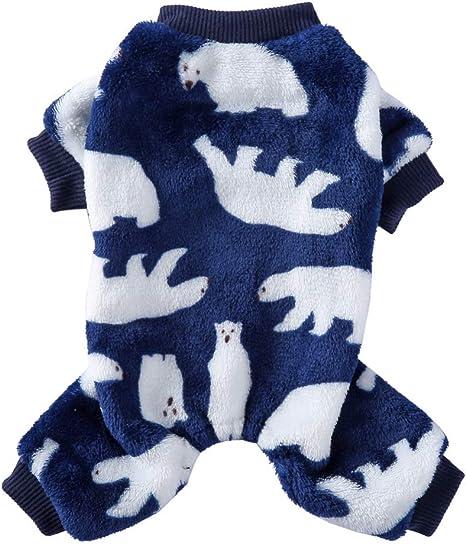 Poseca Pijamas para Perros pequeños y medianos Oso Polar Monos para Perros Suéter cálido de Lana para Perros Pijamas para Mascotas Monos para Perros ...