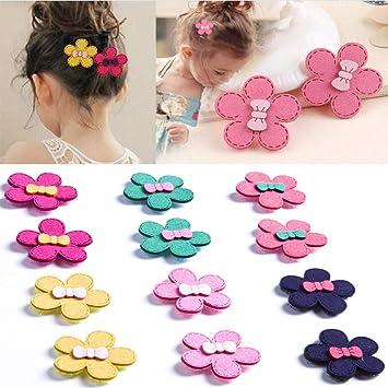 Cute Baby Toddler Girls Kids Wool felt Snap Hair Clips Brooch Candy Butterfly