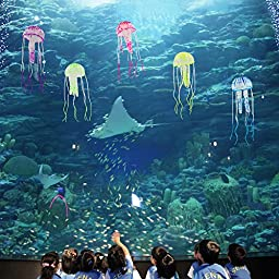 Rusee Glowing Effect Artificial Jellyfish Ornament for Fish Tank Aquarium Decoration, Nontoxic Silicone Harmless To Fish, Instant Suction Cup Installation - 6 Pack