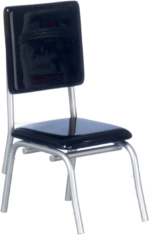Amazon Com Dollhouse Miniature 1 12 Scale 1950 S Style Black Chair T5909 Toys Games