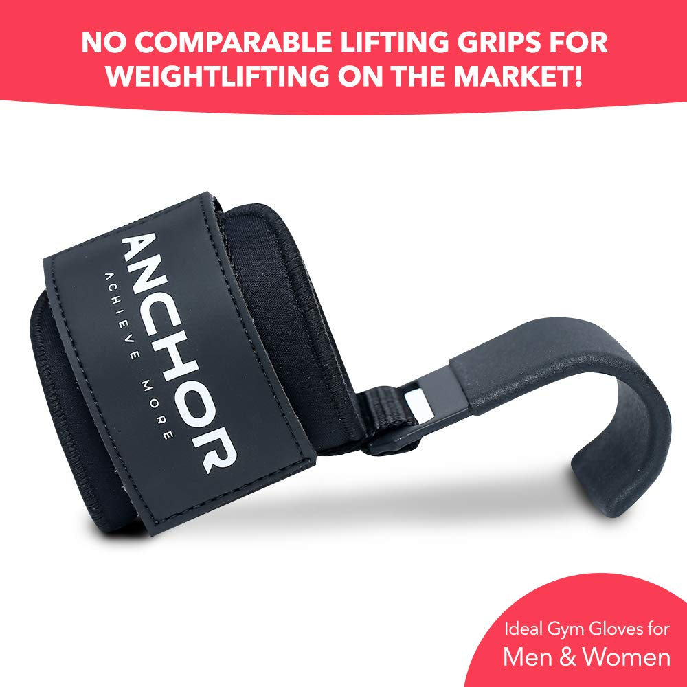 Anchor Weight lifting hooks straps padded non slip for heavy pulling deadlifts weights grip