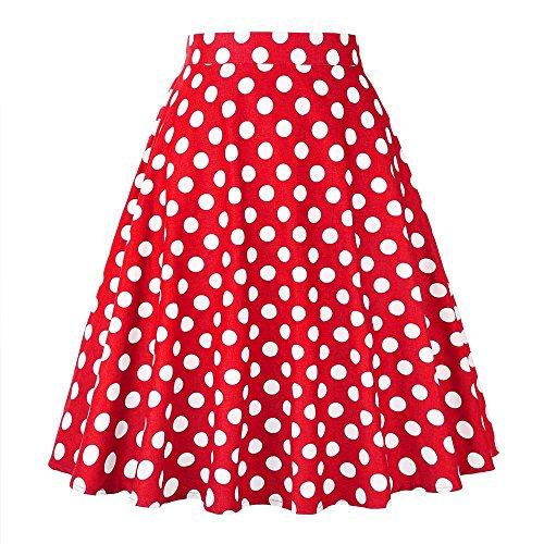 Dot Skirt Polka (2017 New Fashion Black Skirt Women High Waist Plus Size Floral Print Polka Dot Ladies Summer Skirts 50s Vintage Midi Skirt VD0020 (XXL, Red Dot))