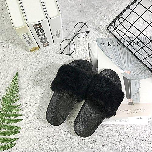 Slip de de Chaussures Sandales Flip les green living Plates Fourrure Faux Femmes Fashion Sandales 6 Flop Non Chaussons les Peluches Plage Fourrure Noir Pour twR7xn1RAq