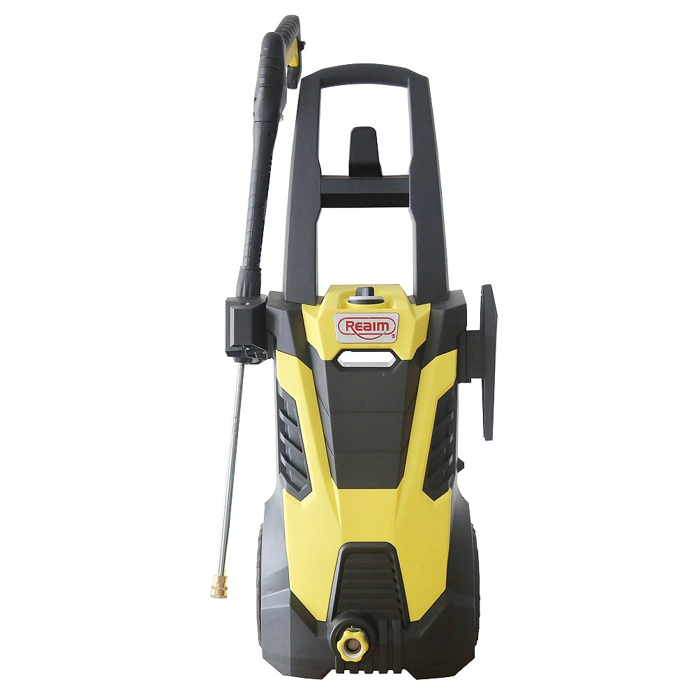 Realm BY02-BIMH, Electric Pressure Washer, 3000 PSI, 1.80 GPM, 15 Amp with Induction Motor, Spray Gun,5 Spray Tips,Built in Soap Dispenser,44lbs,Yellow Black