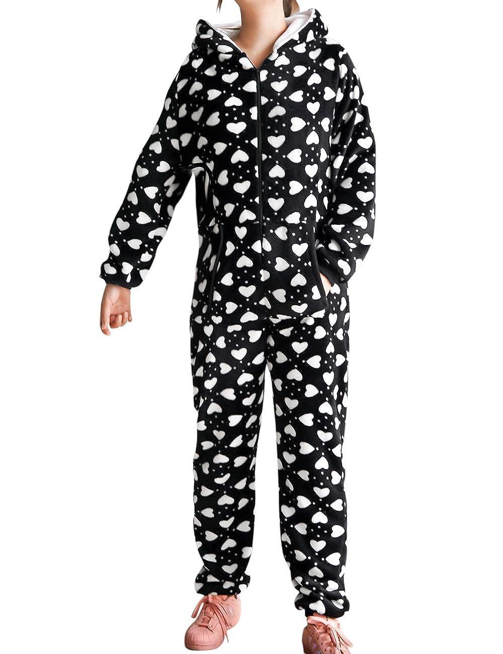 besbomig Mono Pijama de Mujer Adulto Cálido Homewear Ropa de Dormir con Capucha - Invierno Suave Jumpsuits Trajes de Dormir Navidad, Negro