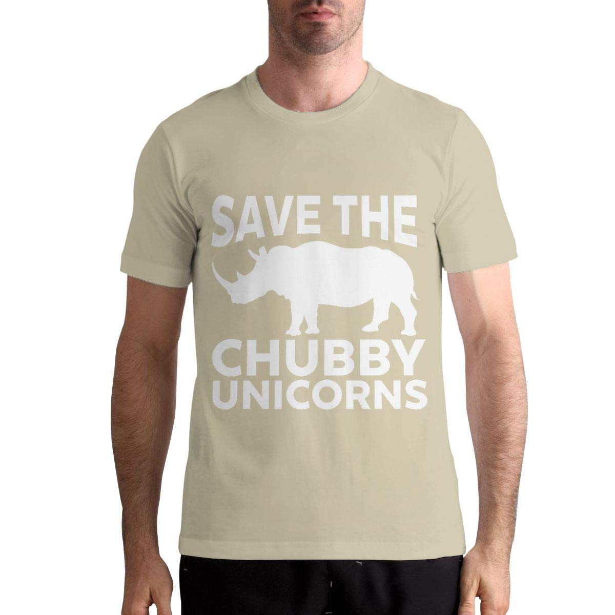 DANIELBURTON Fashion Save The Chubby Unicorn Men Natural Shirt Top Tees Short Sleeve Shirts