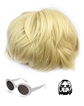 7e18031712 Kurt Cobain Wig And Glasses Nirvana Costume Grunge Short Blonde Haired Wig  Hair Piece And White