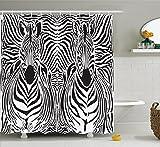 zebra shower head - Zebra Print Decor Shower Curtain Set By Ambesonne, Illustration Pattern Zebras Skins Background Blended Over Zebra Body Heads, Bathroom Accessories, 69W X 70L Inches, Black White