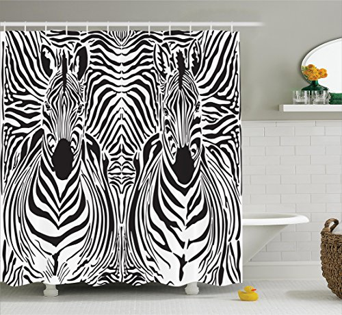 Zebra Print Decor Shower Curtain Set By Ambesonne, Illustration Pattern Zebras Skins Background Blended Over Zebra Body Heads, Bathroom Accessories, 69W X 70L Inches, Black - Print Zebra Shower