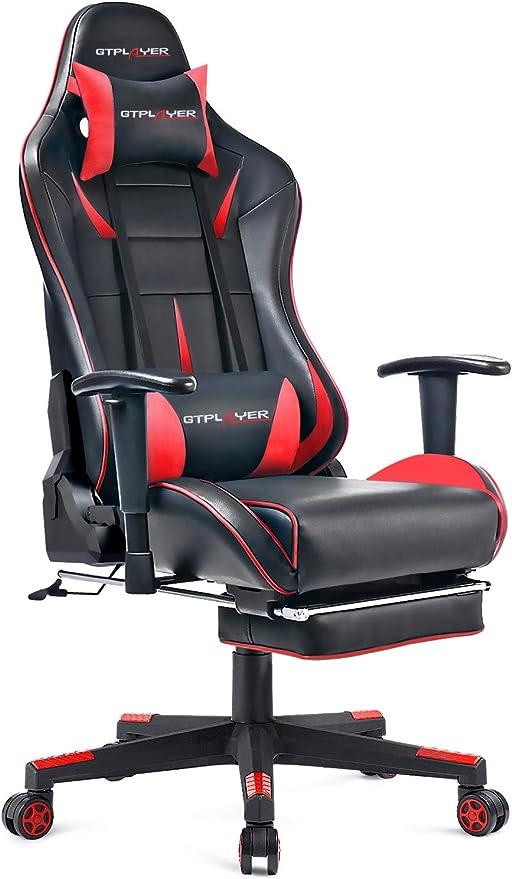 GTPLAYER Chaise Gaming Fauteuil de Bureau Design Ergonomique Chaise pour PC Gamer avec Repose Pieds et Dossier Inclinable Régable en Hauteur (Rouge)