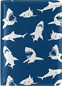 White Shark Fish Travel Genuine Leather Passport Covers Holder Case Protector