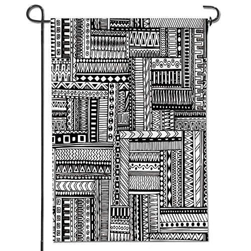 SCOCICI1588 Classic Flag, Abstract striped textured geometric tribal seamless pattern Vector black and white Garden Flag   Double-sided-12