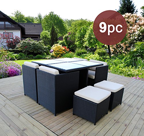 HereDeco 9 Piece Luxury Patio Wicker Furniture - Outdoor Dining Set with Table Chair Ottoman - Dinette Furniture Set (Black (Dinette Set Furniture)