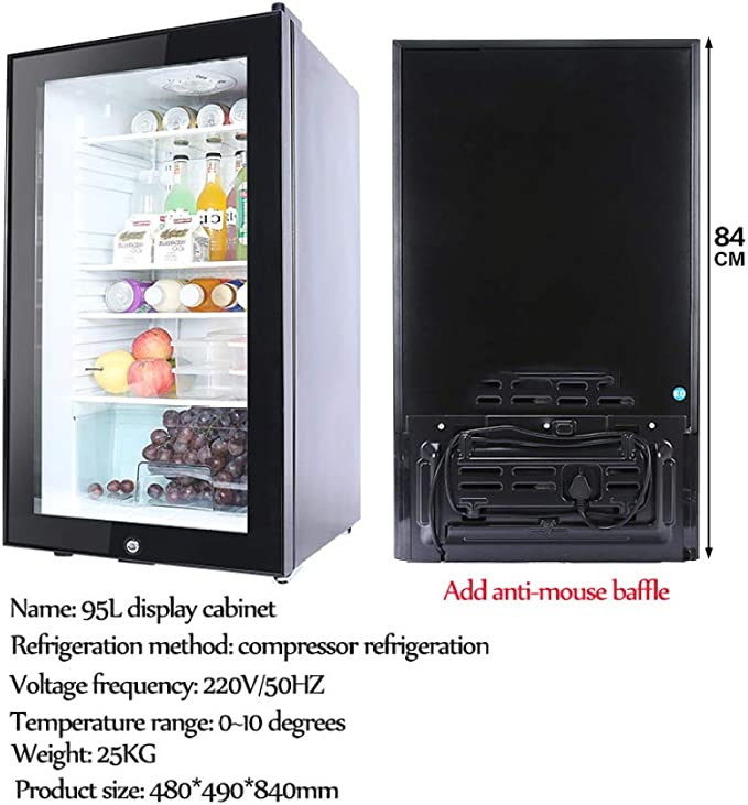 HWG Mini Congelador Refrigerador con Puerta De Vidrio Mini Nevera ...