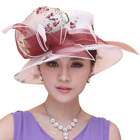 6e0ce085539f5 Image Unavailable. Image not available for. Color  June s Young Women Sun  Hat Elegant Handmade Embroidered Flowers White