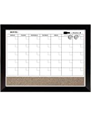 Quartet Home Décor Magnetic Combination Calendar Board, Dry-Erase and Cork, 17 x 23 Inches, Two-Tone Frame (22476)