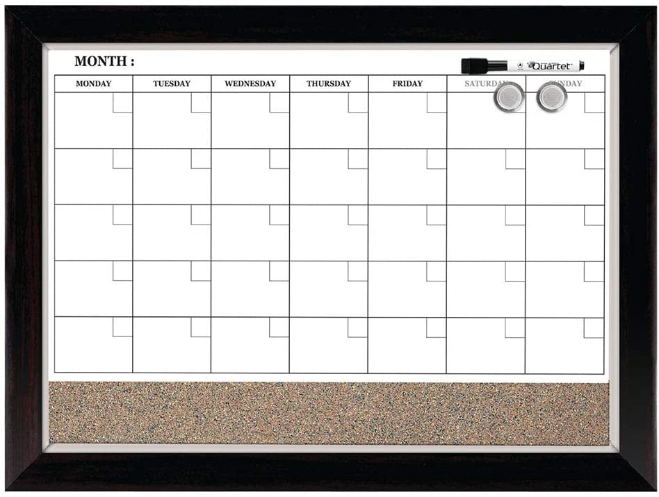 "Quartet Combination Magnetic Whiteboard Calendar & Corkboard, 17"" x 23"" Combo Dry Erase White Board & Cork Bulletin Board, Perfect for Office, Home School Message Board, Wood Frame (22476) : Wall Calendars : Office Products"