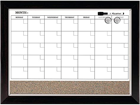 Amazon Com Quartet Combination Magnetic Whiteboard Calendar Corkboard 17 X 23 Combo Dry Erase White Board Cork Bulletin Board Perfect For Office Home School Message Board Wood Frame 22476