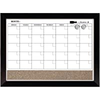 Quartet - Calendario magnético combinado, borrado en seco y corcho, 43,18 x 58,42 cm, marco de dos tonos (22476), 1 tabla, Two-tone, 43.1 cm x 58.4 cm