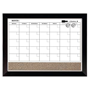 "Quartet Combination Magnetic Whiteboard Calendar & Corkboard, 17"" x 23"" Combo White Board & Cork Board, Dark Wood Finish Frame (22476)"