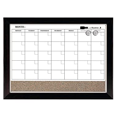 Quartet Combination Magnetic Whiteboard Calendar & Corkboard, 17  x 23  Combo White Board & Cork Board, Wood Finish Frame (22476)