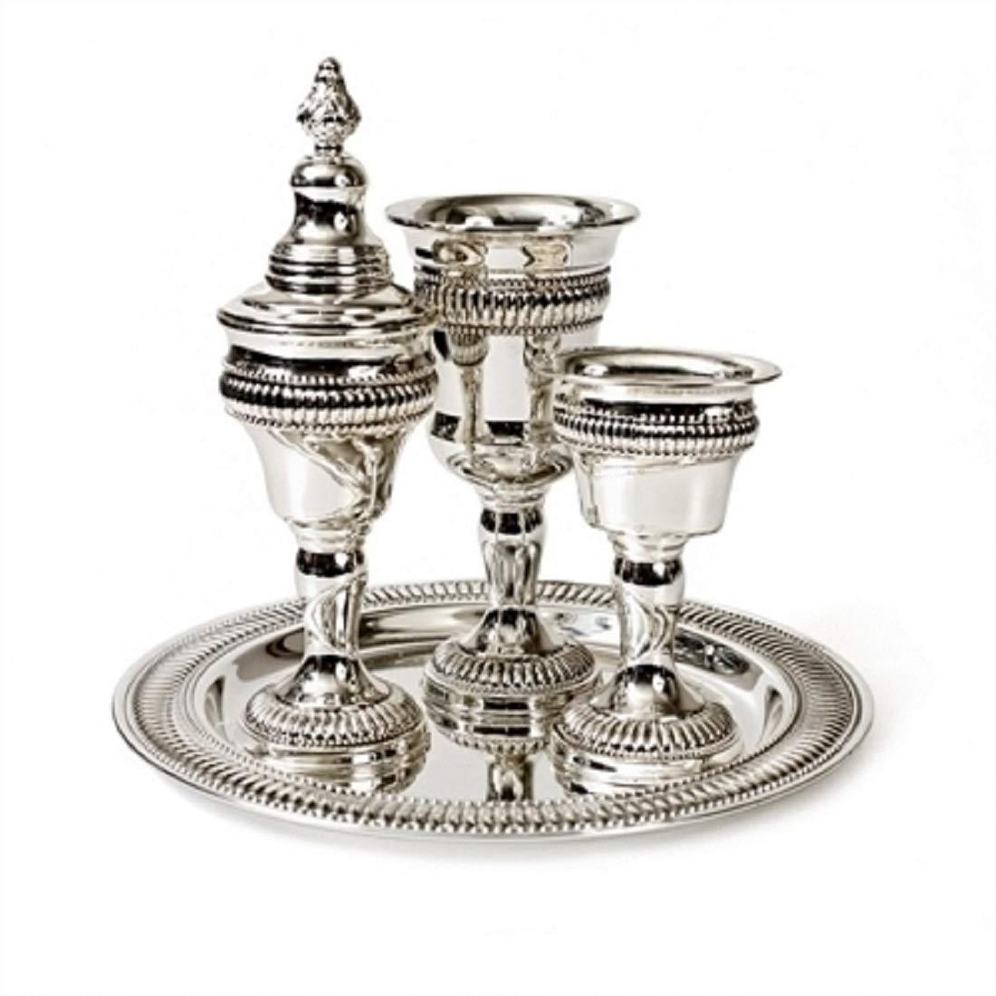Modern Silverplated Havdalah Set, Non-Tarnish